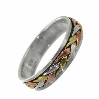 LAST ONE Sterling Silver Ring: Simple Spinning 'Meditation' Ring With Weave D... • 24.20£