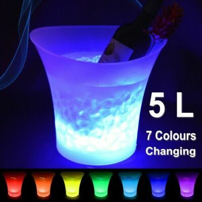 5L LED ICE BUCKET Changing Champagne Wine Drinks Cooler Light Up 7 Color Glowing • 13.99£