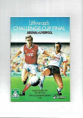 1987 Arsenal V Liverpool League Cup Final Football Programme • 4£