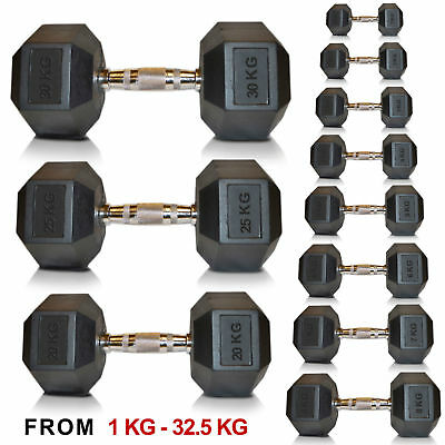 AU126.13 • Buy Hex Dumbell Weights, Sporteq Gym Use Rubber Encased 1kg To 30kg, Sold In Pairs.