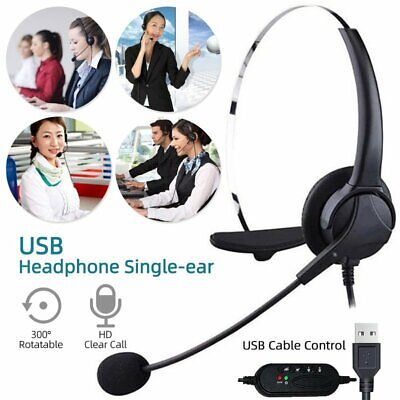USB Headphones With Microphone Noise Cancelling Headset For Skype PC Laptop NEW~ • 15.99£