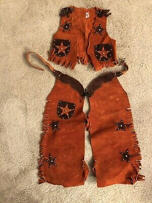 $49.99 • Buy VINTAGE REAL LEATHER Western Cowboy Kids Youth Vest & Chaps Small