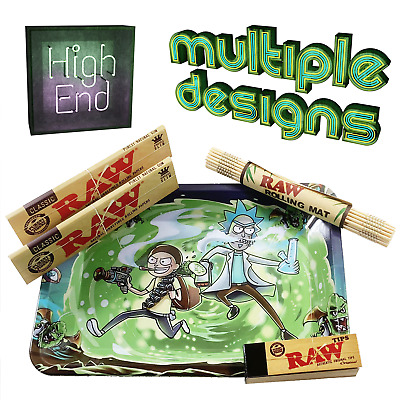 Rick And Morty Smoking Gift Set - Rolling Tray, RAW Rolling Papers, Mat, Tips • 10£
