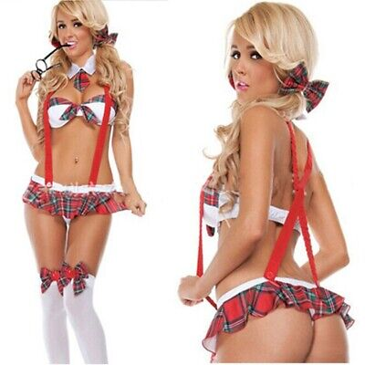 £7.99 • Buy Sexy School Girl Costume Lingerie Fancy Outfit Role Play Uniform