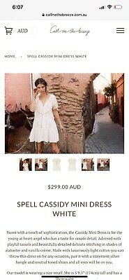 AU159 • Buy Spell Cassidy Mini Dress, Size Small, Sample, BNWOT, RARE