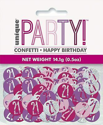 14g 21st Pink & Silver Glitz Table Scatters Confetti Ladies 21 Birthday Party • 2.39£