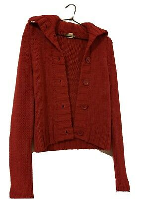 AU5 • Buy Hollister Red Knit Cardigan Chunky Sweater Jumper XXS XS 4 6 Wool High Neck Top