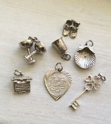 $ CDN15 • Buy HOUSEHOLD FAMILY NOVELTY - 7 Vintage Sterling Charm Lot