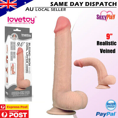 AU42.29 • Buy LOVETOY 9'' Realistic Dildo Dong Dual Layer Sliding Skin Suction Cup Sex Toy