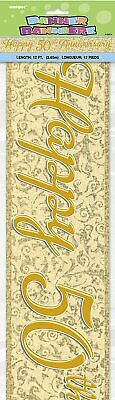 12ft Happy 50th Anniversary Foil Banner 50 Years Golden Wedding Party Decoration • 2.35£