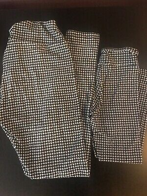 $19.50 • Buy Lularoe Mommy And Me Leggings Black Gray Houndstooth  One Size, S/M 2-6