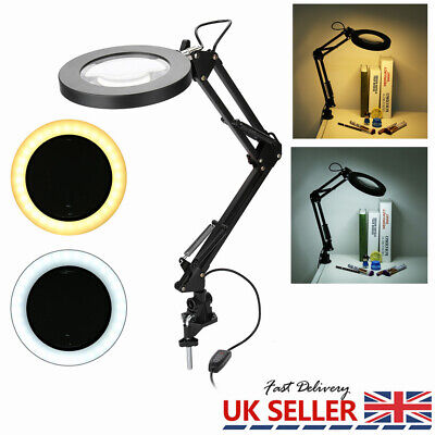 £16.65 • Buy Clamp LED Magnifier Lamp 5X Magnifying Lamp Salon Tattoo Beauty Cold Warm Light