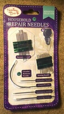 Household Repair Sewing Needles Pack Upholstery Carpet Leather Curved New Sealed • 1.75£