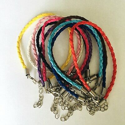 BRAIDED PU LEATHER BRACELET/ANKLET-FRIENDSHIP-ROPE/CORD Adjustable CLASP CHAIN  • 0.99£