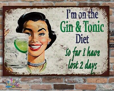GIN DIET 10x8  Retro Vintage Metal Advertising Sign Plaque  Wall Art Pic • 6.95£