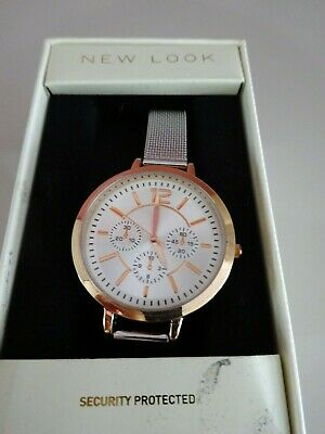 £5.30 • Buy Ladies New Look Gold Coloured Watch With Silver Mesh Strap -boxed  (ter)