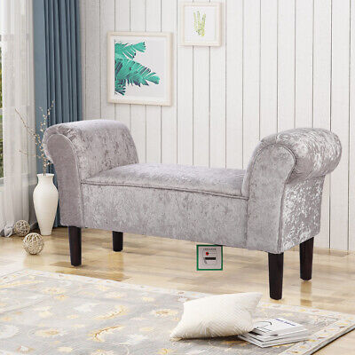Grey Crushed Velvet Bench Bed End Seat Pouf Pouffes Ottoman Stool Bedroom Lounge • 79.95£