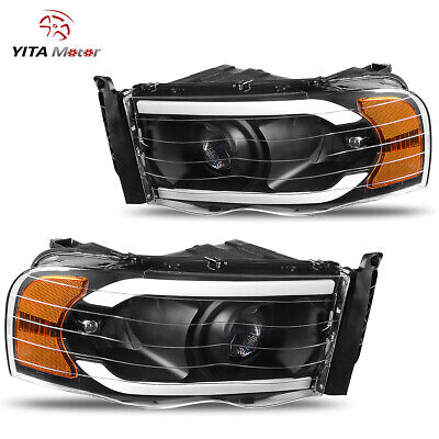 $275.99 • Buy Yitamotor Led Drl Black Projector Headlights For 02-05 Dodge Ram 1500 2500 3500