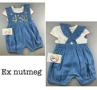 Baby Girls Denim Zoo Dungarees Top Shorts Summer Holiday Playsuit Romper Outfit • 4.95£