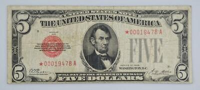 $ CDN335.61 • Buy 1928 $5 Red Seal STAR Note Rare FR# 1525* Very Good Condition Vibrant Red