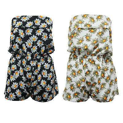 Ladies Playsuit Jumpsuit Daisy Flower Shorts Bandeau Elasticated Summer Womens • 8.99£