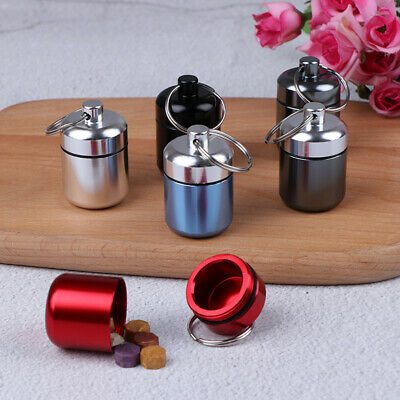 $3.19 • Buy Mini Waterproof Aluminum Alloy Pill Box Case Bottle Holder Container Keychain*ma