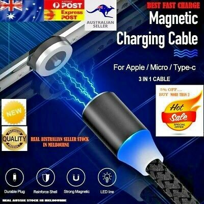 AU3.75 • Buy 360° Magnetic Charging Cable Lightning/TypeC/Micro USB For Samsung/iPhone-1M/2M