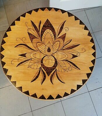 Carved Wood Coffe Table,beautiful Wood Burn Design,ideal For A Gift,clear Varnis • 69£