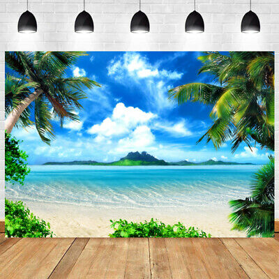 Tropical Beach Photography Backdrop Party Luau Palm Tree Photo Background Banner • 39.90£