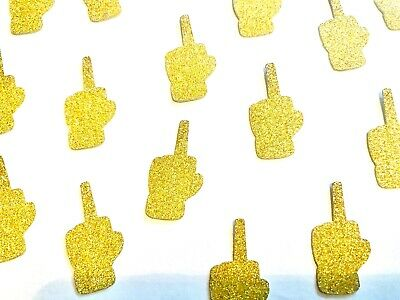50 X Gold Divorce Party Table Confetti, Scatter, Middle Finger, Single Confetti • 3.50£