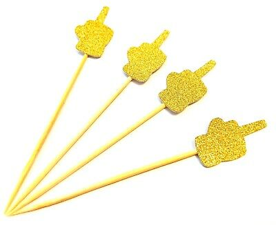 12 X Gold Middle Finger Cupcake Toppers Divorce Party, Break Up, Single Picks • 3.99£