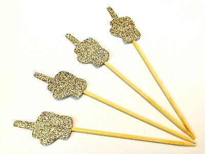 12 X Rose Gold Middle Finger Cupcake Toppers Divorce Party, Break Up, Single • 3.99£