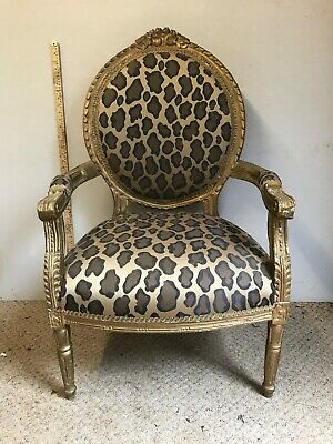 French Louis Style Chair Leopard Print Carved Frame With Aged Gold Finish. • 300£