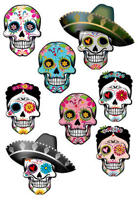 Sugar Skull Mexican Day Of The Dead Wall Stickers - 5 Sizes Available • 16.99£