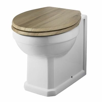 Traditional White Ceramic Back To Wall Toilet With Choice Of Wooden Seat • 139.99£