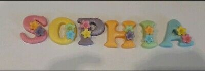 5edible Sugarpaste Icing Name Letters Girls Pastel Colours /flowers Cake Toppers • 4£