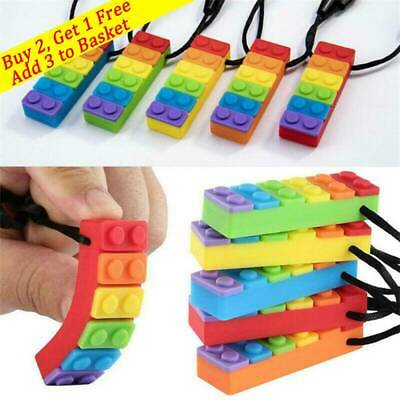 Rainbow Brick Chew Baby Kids Silicone Teether Autism Sensory Chewy Toy Necklaces • 3.99£