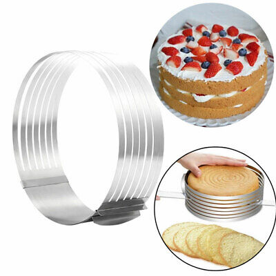 Adjustable Stainless Steel Cake Leveller Layer Slicing Ring Cutter Mold Tool DIY • 6.69£