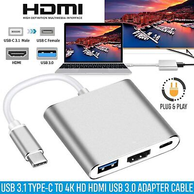 AU11.49 • Buy 3IN1 USB 3.1 Type-C To HDMI 4K HD USB 3.0 HUB USB-C Charging Port Cable Adapter
