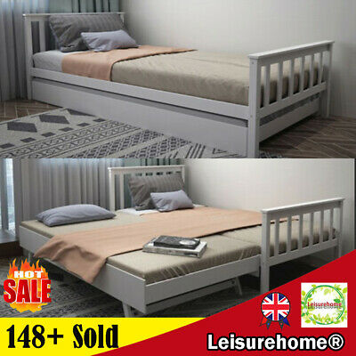 £156.99 • Buy 3ft Day Bed Sofa Bed Guest Bed Frame In Grey Or White With Pull Out Trundle