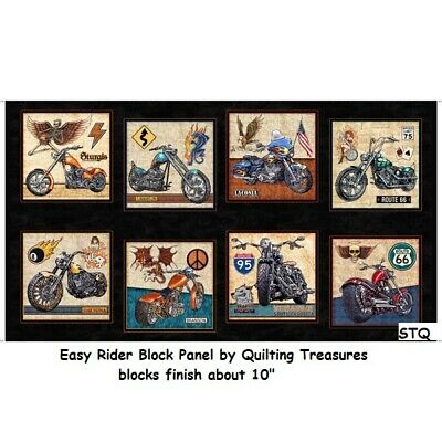 $10 • Buy Easy Rider Motorcycle Chopper Panel Cotton Quilt Fabric By Quilting Treasures