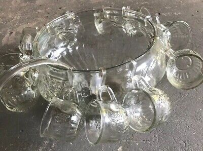 American Vintage  Glass Punch Bowl And Glasses Set With Ladle In Box. • 45£