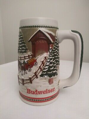 $ CDN39.27 • Buy Budweiser 1984 Clydesdale Winter Holiday Ceramic Beer Stein Mug Brazil