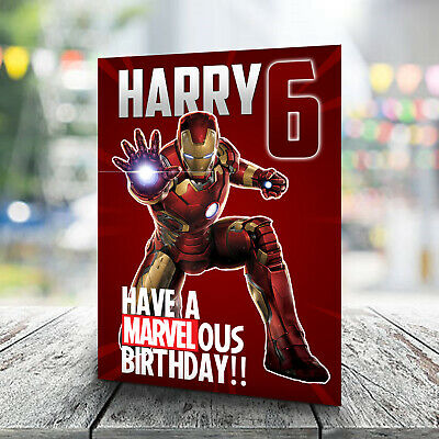 Iron Man Birthday Card - Personalised With Any Name And Age. Marvel • 2.99£