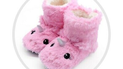 AU28.99 • Buy Unicorn Plush Slippers Booties Kids Fluffy Inside Warm Non-slip Foot Pink