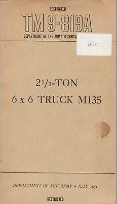 $14.99 • Buy 448 Page 1951 TM 9-819A GMC M135 6x6 Truck 302 6 Cylinder Engine Manual On CD