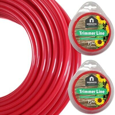 2x REPLACEMENT STRIMMER LINES Heavy Duty Petrol Grass Lawn Trim Cords 15M X 3M • 9.59£