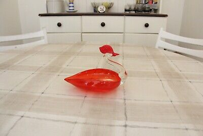£12 • Buy Vintage Murano Red Sommerso Glass Swan Trinket Dish
