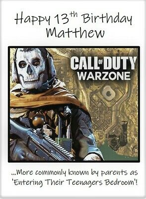 £3.99 • Buy Personalised Call Of Duty Teenager Birthday Card 13th 16th 18th Humorous Funny