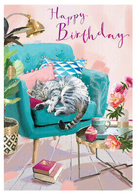 Birthday Card - Cat Nap - At Home Ling Design Female Quality NEW • 2.50£
